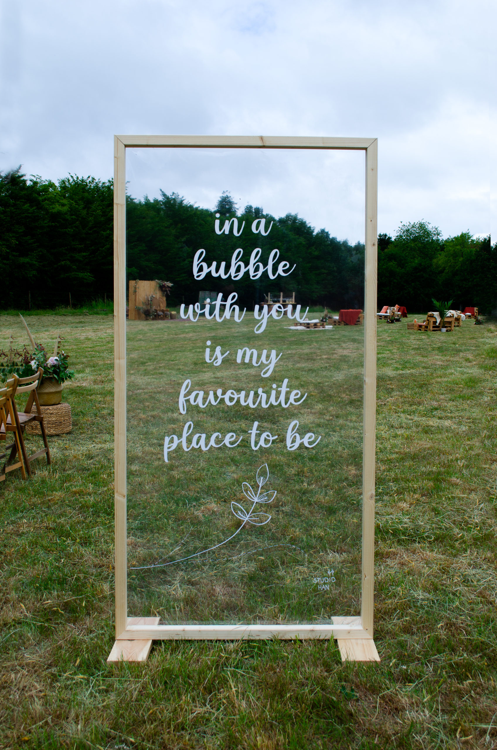 in a bubble with you is my favourite place to be versiering plexiglas huwelijk